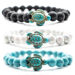 O&Co Sea Turtle Black Stone Beaded Beach Bracelet